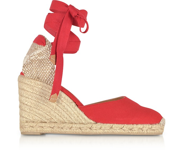 Carina Ruby Red Canvas Wedge Espadrilles - Castaner