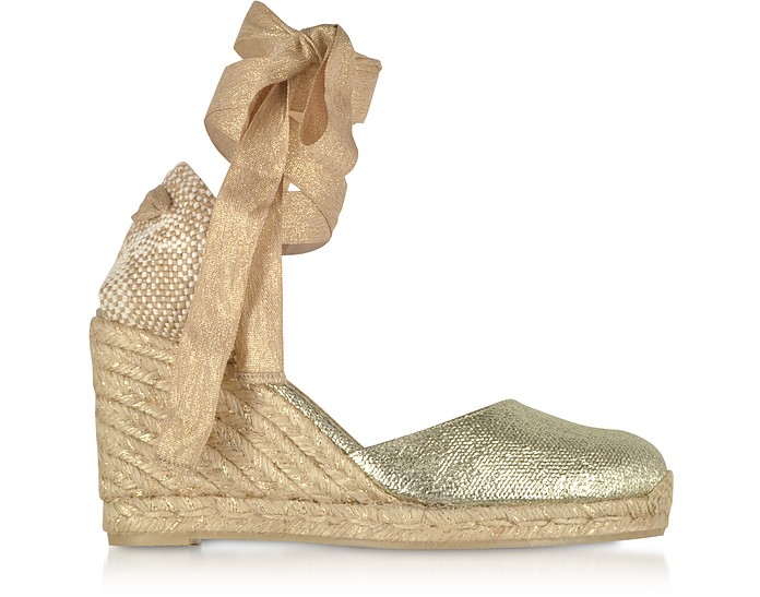 Carina Golden Canvas Wedge Espadrilles - Castaner