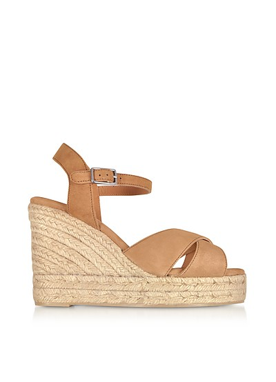 Blaudell Brown Suede Wedge Sandals - Castaner