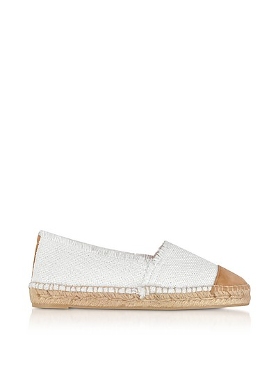 Kampala White Canvas and Natural Suede Flat Espadrilles - Castaner