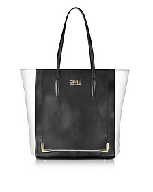 Maggie Black and White Leather Tote