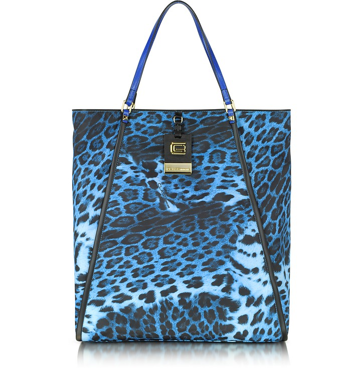 Class Blue Summer Leopard Large Tote Bag - Roberto Cavalli