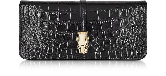 0fea1bc91a63 Class Roberto Cavalli Black Daphne Croco Print Leather Clutch with ...