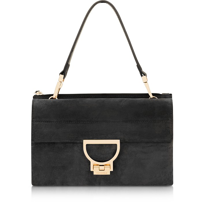 Black Suede Arlettis Shoulder Bag - Coccinelle