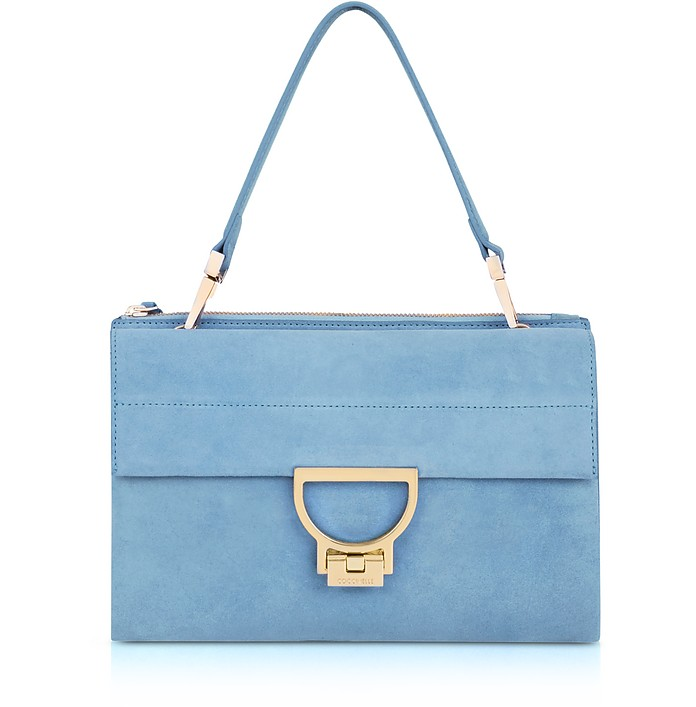 Sky Blue Suede Arlettis Shoulder Bag - Coccinelle