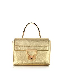 Platinum Pebbled Leather Arlettis Mini Bag w/Shoulder Strap - Coccinelle