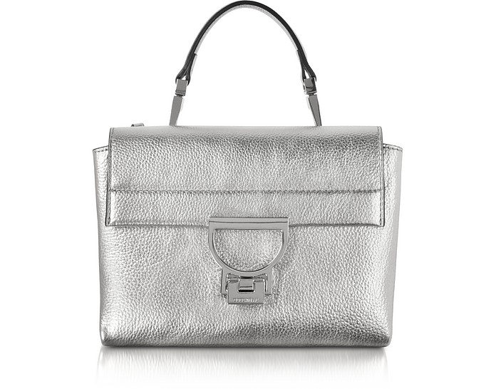 Silver Pebbled Leather Arlettis Mini Bag w/Shoulder Strap - Coccinelle