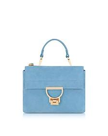 Sky Blue Suede Arlettis Mini Bag w/Shoulder Strap - Coccinelle