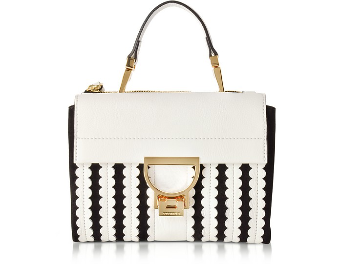 b23311f555441 Arlettis Merletto White Pebbled Leather and Black Suede Mini Bag w Shoulder  Strap - Coccinelle