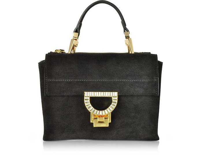 Black Suede Arlettis Jewel Mini Bag w/Shoulder Strap - Coccinelle