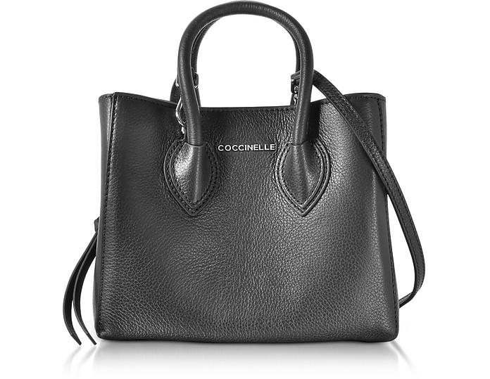 Farisa Black Pebbled Leather Mini Tote Bag - Coccinelle