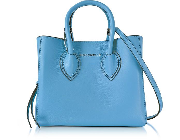Farisa Shopper Mini in Pelle Martellata Coccinelle Blu Chiaro pfn1c