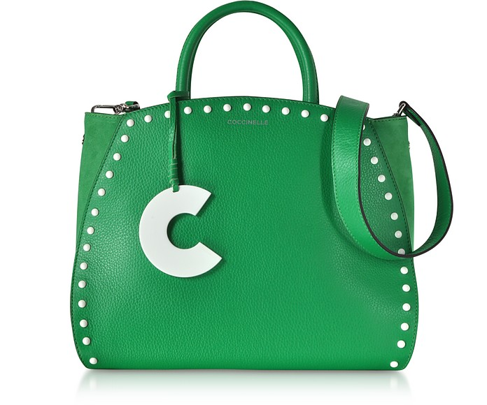 Concrete Studs Top Handle Leather Tote Bag - Coccinelle