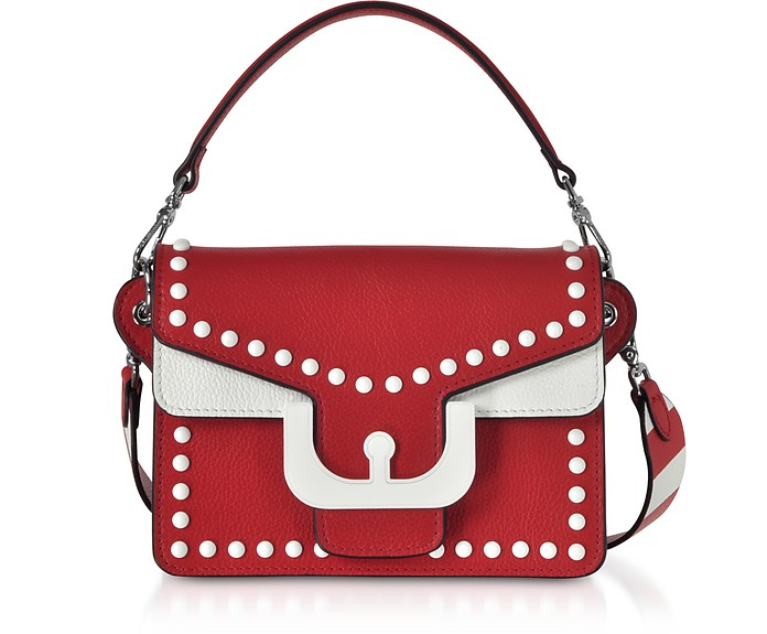 Ambrine Graphic Studs Color Block Leather Crossbody Bag - Coccinelle