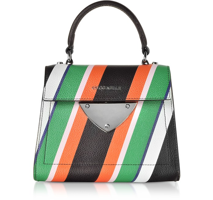 B14 Stripes Printed Leather Satchel Bag - Coccinelle