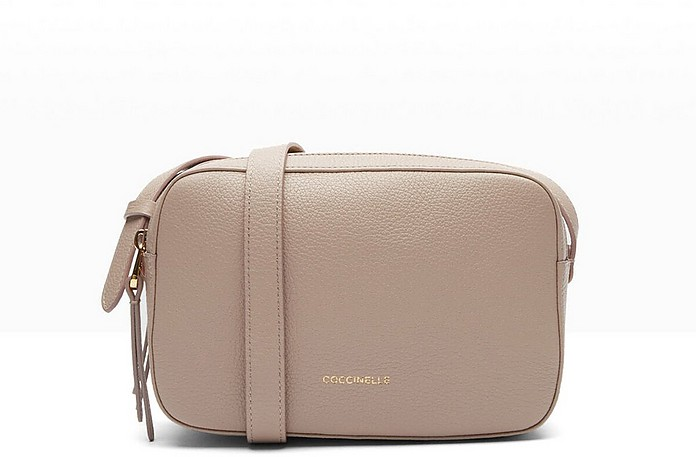 Pink Double Compartment Grained Leather Lea Crossbody Bag - Coccinelle