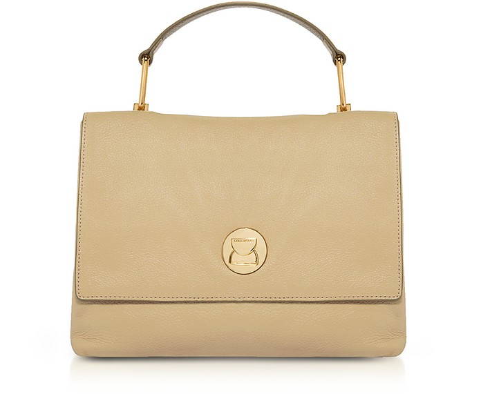 Grainy Two-Tone Leather Medium Liya Satchel Bag - Coccinelle