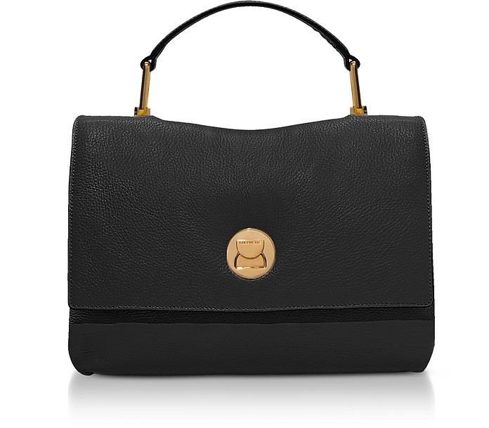 9c5f9a18b6 Coccinelle Black Grainy Leather Medium Liya Satchel Bag at FORZIERI UK