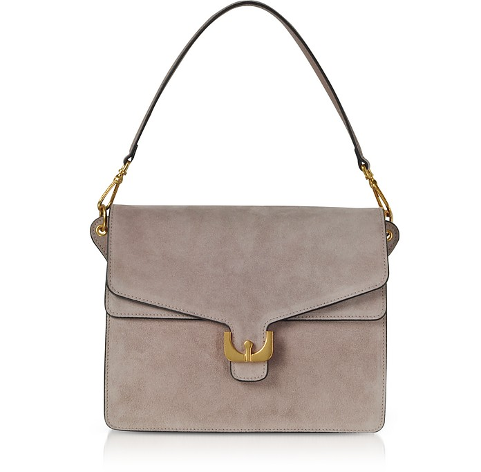 Ambrine Peony Pink Suede Shoulder Bag - Coccinelle