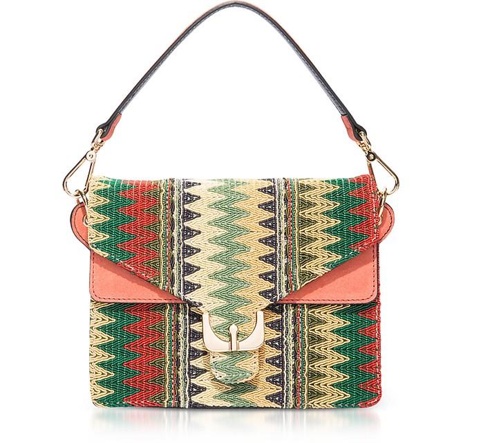 Ambrine Etno Multicolor Canvas and Coral Leather Crossbody Bag - Coccinelle