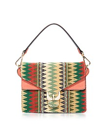 Ambrine Etno Multicolor Canvas and Coral Leather Crossbody Bag - Coccinelle