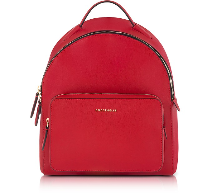 6211c4233c5e5 Coccinelle Clementine Poppy Red Leather Backpack at FORZIERI