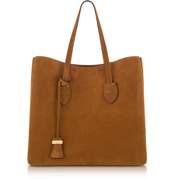 Fabulous Coccinelle Celene Brown Suede Tote Bag at FORZIERI JL64