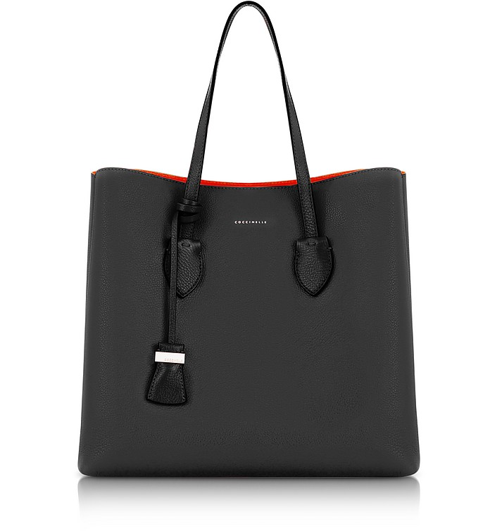 d6659fadfd95 Celene Black and Gerbera Red Leather Tote Bag – Coccinelle