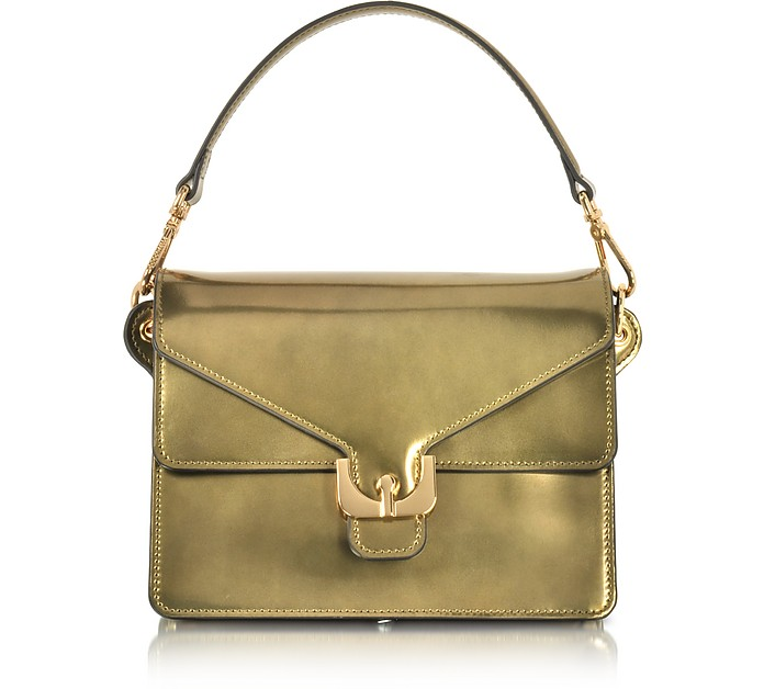 Ambrine Lux Gold Laminated Leather Satchel Bag  - Coccinelle