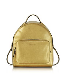 Clementine Golden Saffiano Leather Backpack - Coccinelle