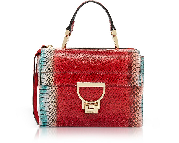 Arlettis Red Reptile Printed Leather Shoulder Bag - Coccinelle