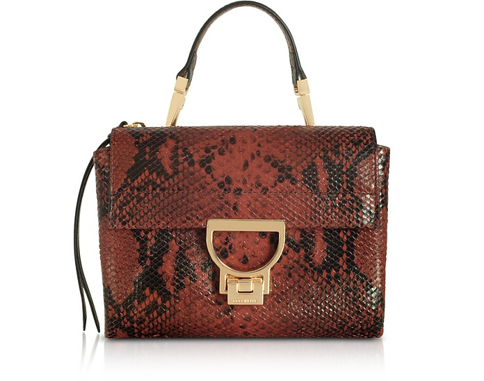 Arlettis Mini Burgundy Reptile Printed Leather Shoulder Bag - Coccinelle