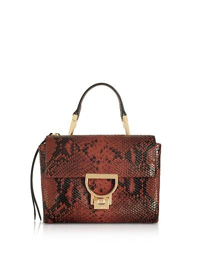 Arlettis Mini Burgundy Reptile Printed Leather Shoulder Bag - Coccinelle