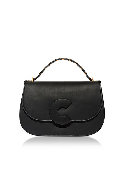Craquante Rock Leather and Suede Satchel Bag w/Studded Handle - Coccinelle