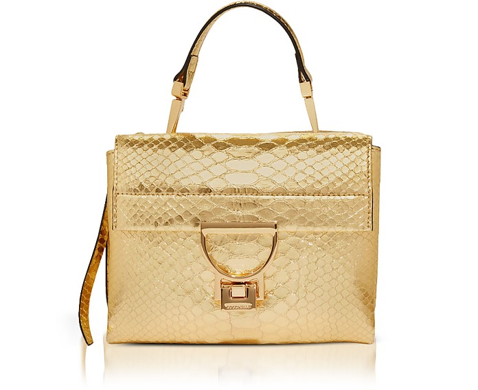 Arlettis Metallic Python Leather Mini Bag w/Shoulder Strap - Coccinelle