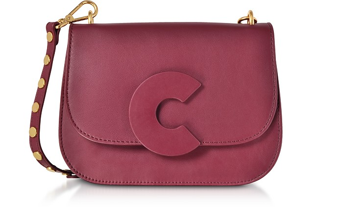 Craquante Rock Grape Leather and Suede Medium Shoulder Bag w/Studded Shoulder Strap - Coccinelle