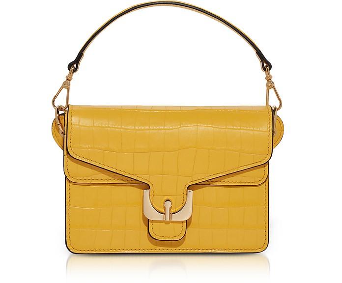 Ambrine Spark Croco Print Leather Mini Satchel Bag W/Shoulder Strap