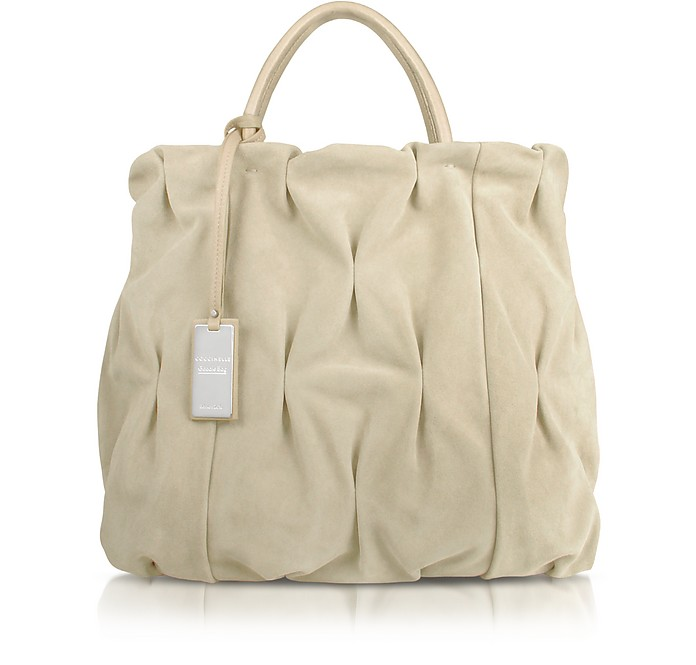 Goodie Bag - Pleated Suede and Leather Large Tote Bag - Coccinelle