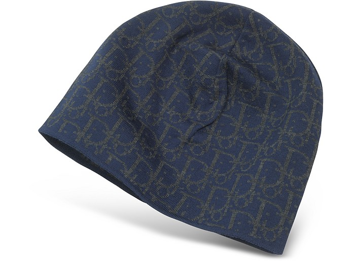 Christian Dior Dark Blue All-Over Signature Wool Hat at FORZIERI 145e75d9c069