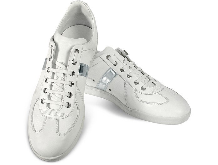 a07d5701e Christian Dior Dior Homme White & Silver Leather Sneaker Shoes 6 US ...