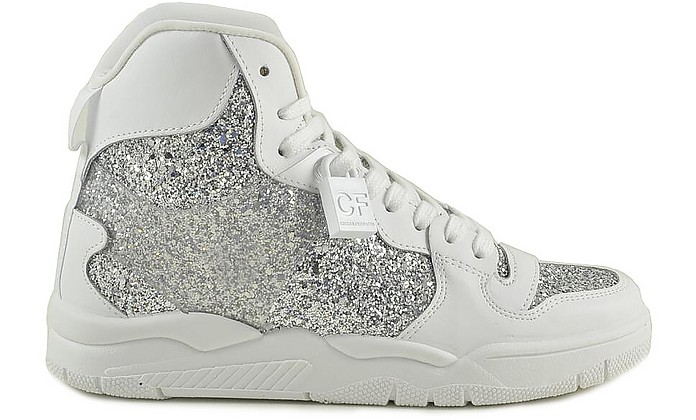 White Leather and Silver Glitter Women's  Sneakers - Chiara Ferragni