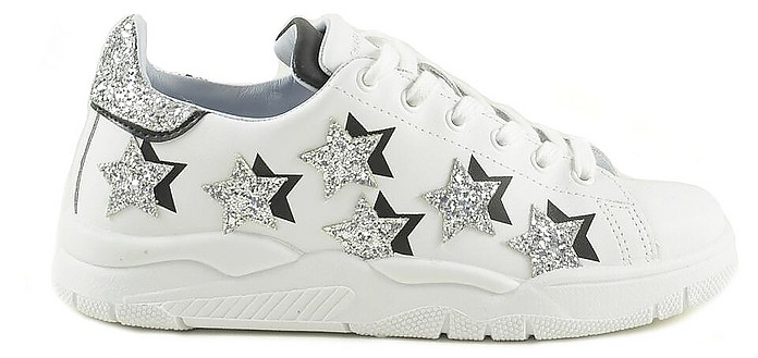 White Leather with Silver Stars Women's Sneakers - Chiara Ferragni