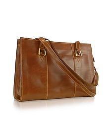 Handmade Brown Genuine Italian Leather Zip Satchel Bag - Chiarugi