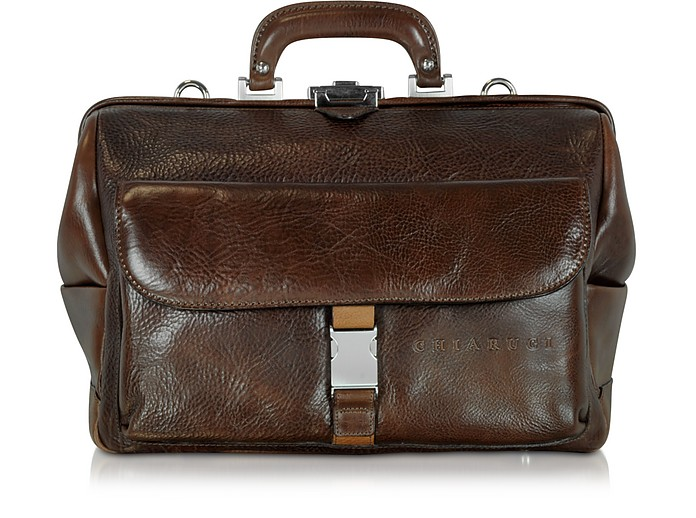 Large Brown Hammered Leather Doctor Bag - Chiarugi
