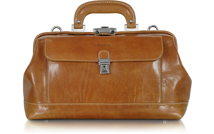 Handmade Cognac Leather Professional Doctor Bag - Chiarugi