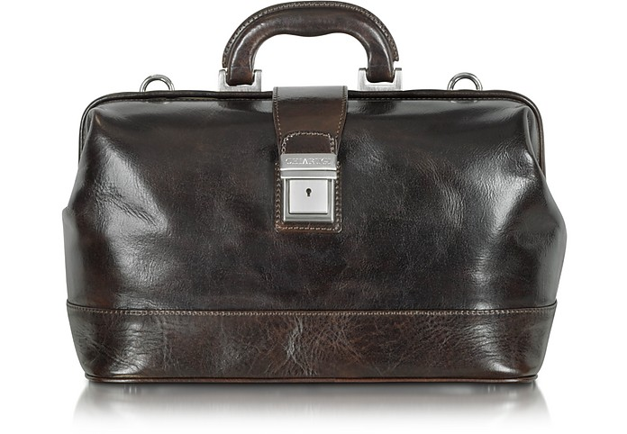 Medium Dark Brown Leather Doctor Bag - Chiarugi