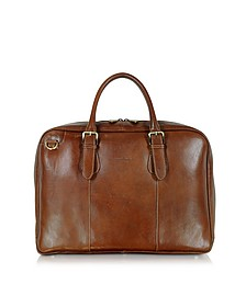 Brown Double Handle Leather Briefcase - Chiarugi