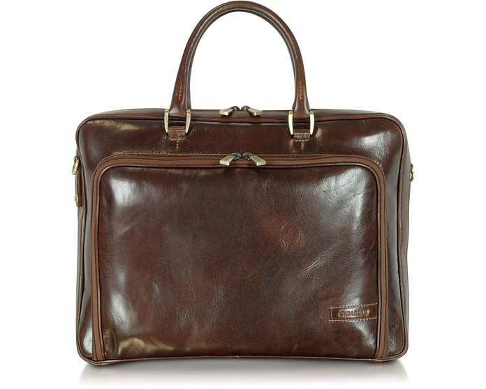Dark Brown Double Handle Leather Zip Briefcase - Chiarugi / キアルージ