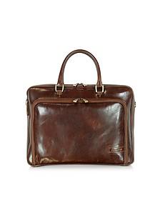 Dark Brown Double Handle Leather Zip Briefcase - Chiarugi