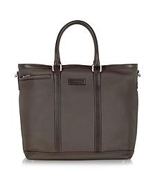 Dark Brown Large Leather Tote - Chiarugi
